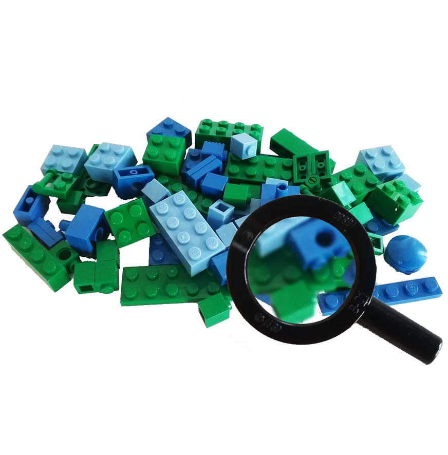Magnified LEGO bricks