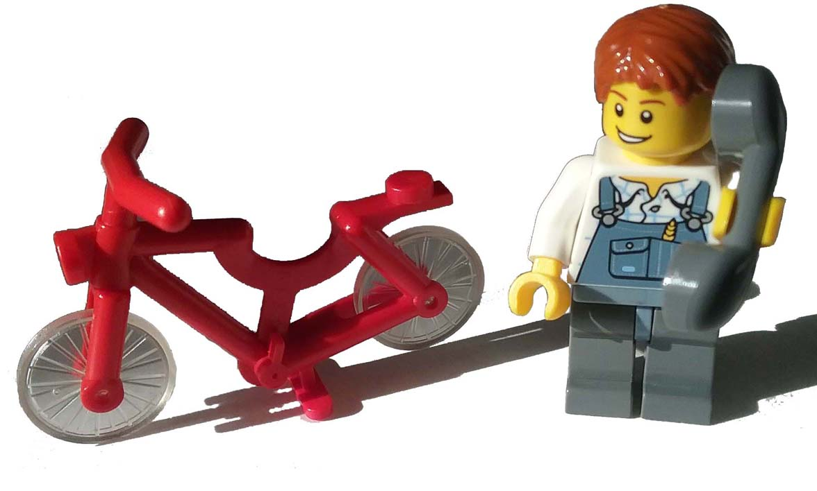 lego boy on phone with bycicle.