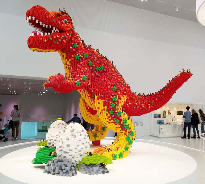 Dinosaur fashioned from Duplo LEGO bricks