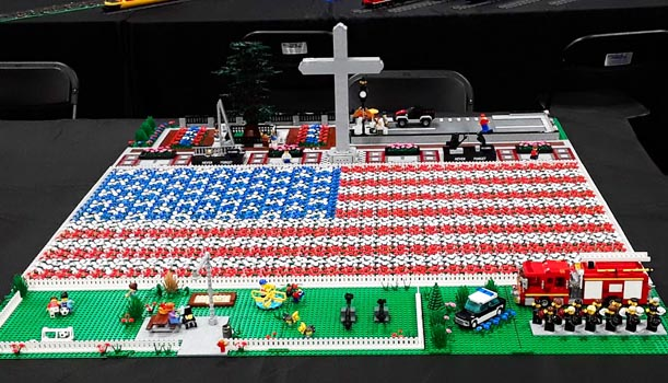 US Flag memorial in LEGO bricks