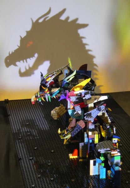 Shadow art created with LEGO bricks