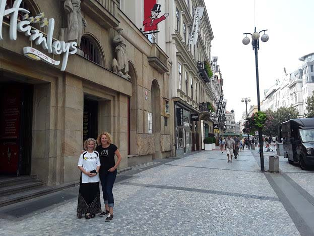 Eliska and Jana in front of Hamley's Toy Store in Prague